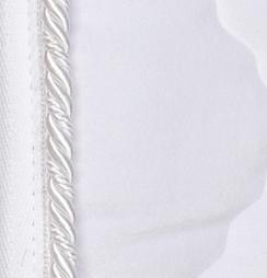 White velvet with white braid